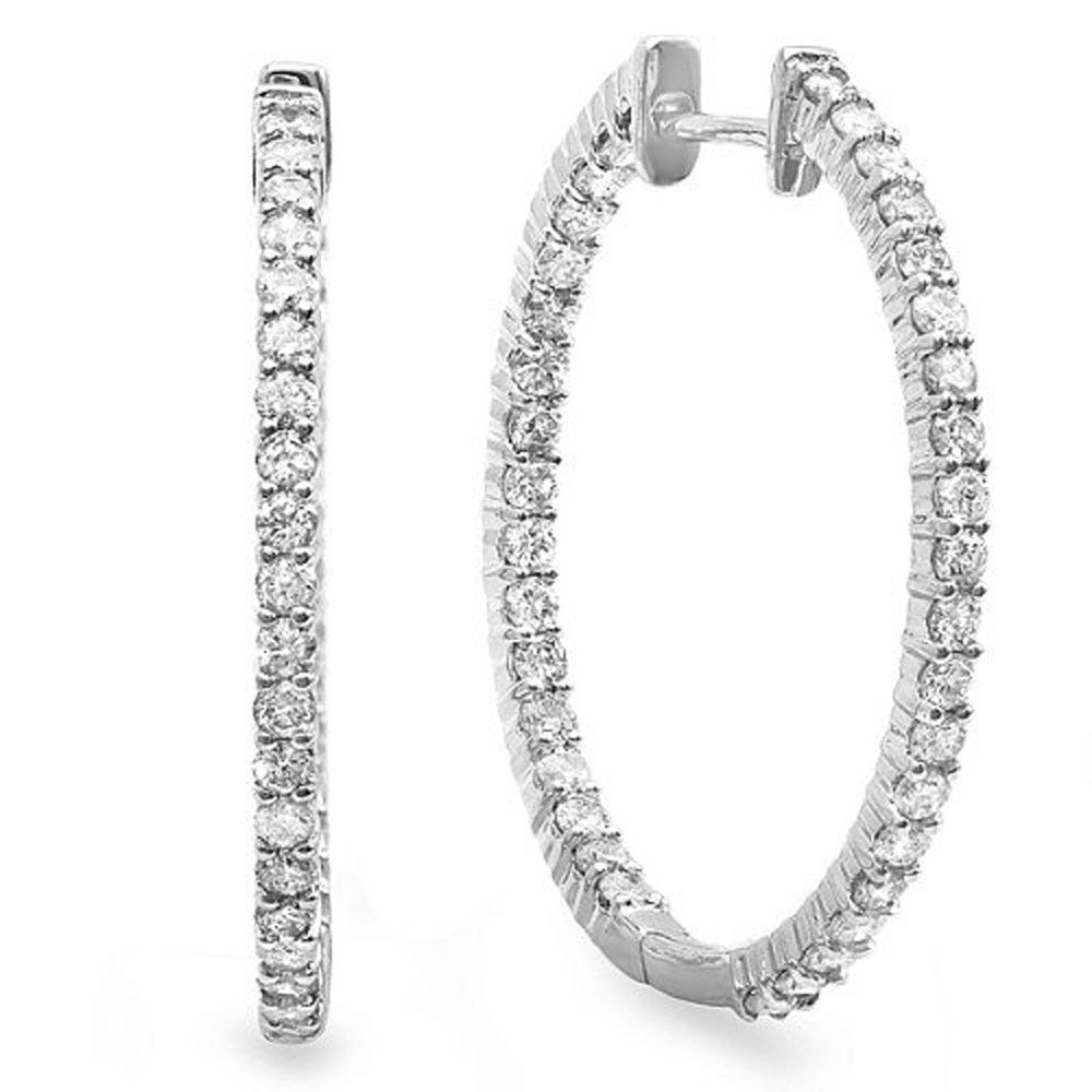 0.95 Carat (ctw) 14k White Gold Round Diamond Ladies In and Out Hoop Earrings
