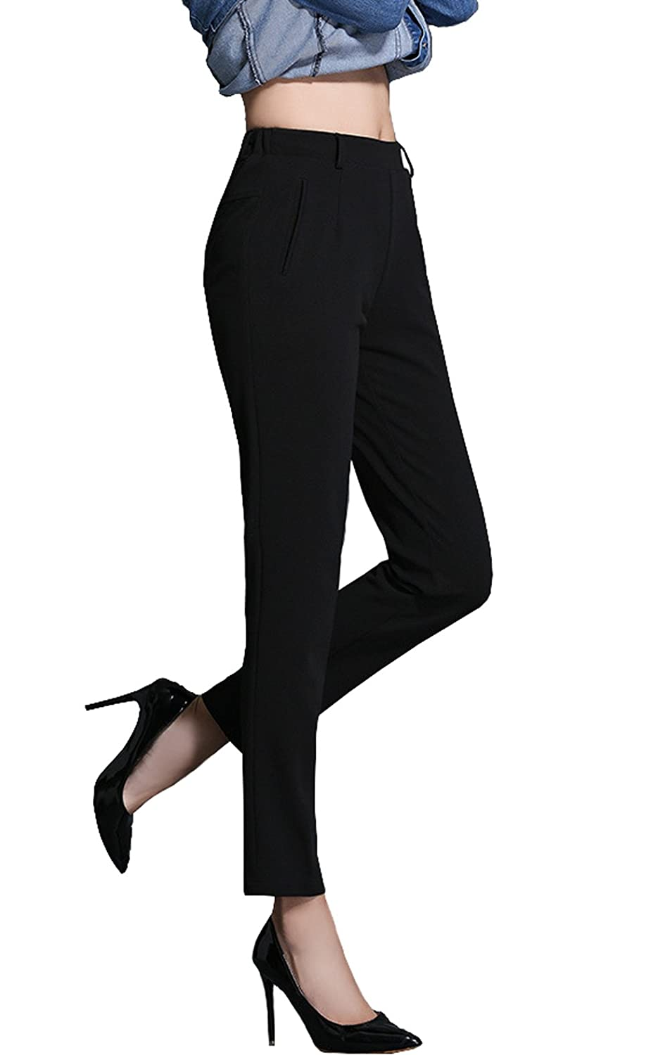 Tanming Women's Casual Middle Waist Stretch Pencil Pants Plus Size