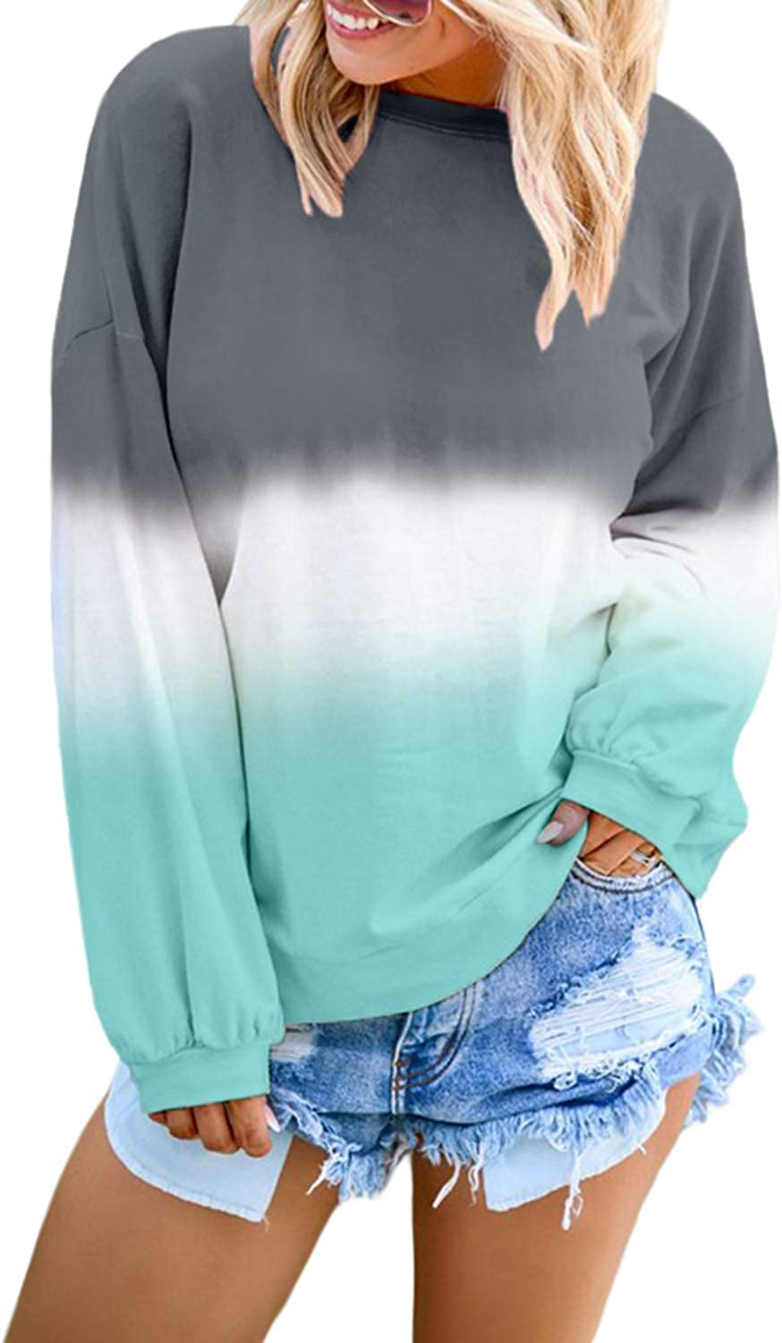 Womens Tye Dye Hoodie Pullover Sweatshirt Casual Long Sleeve Blouse Tops with Pockets