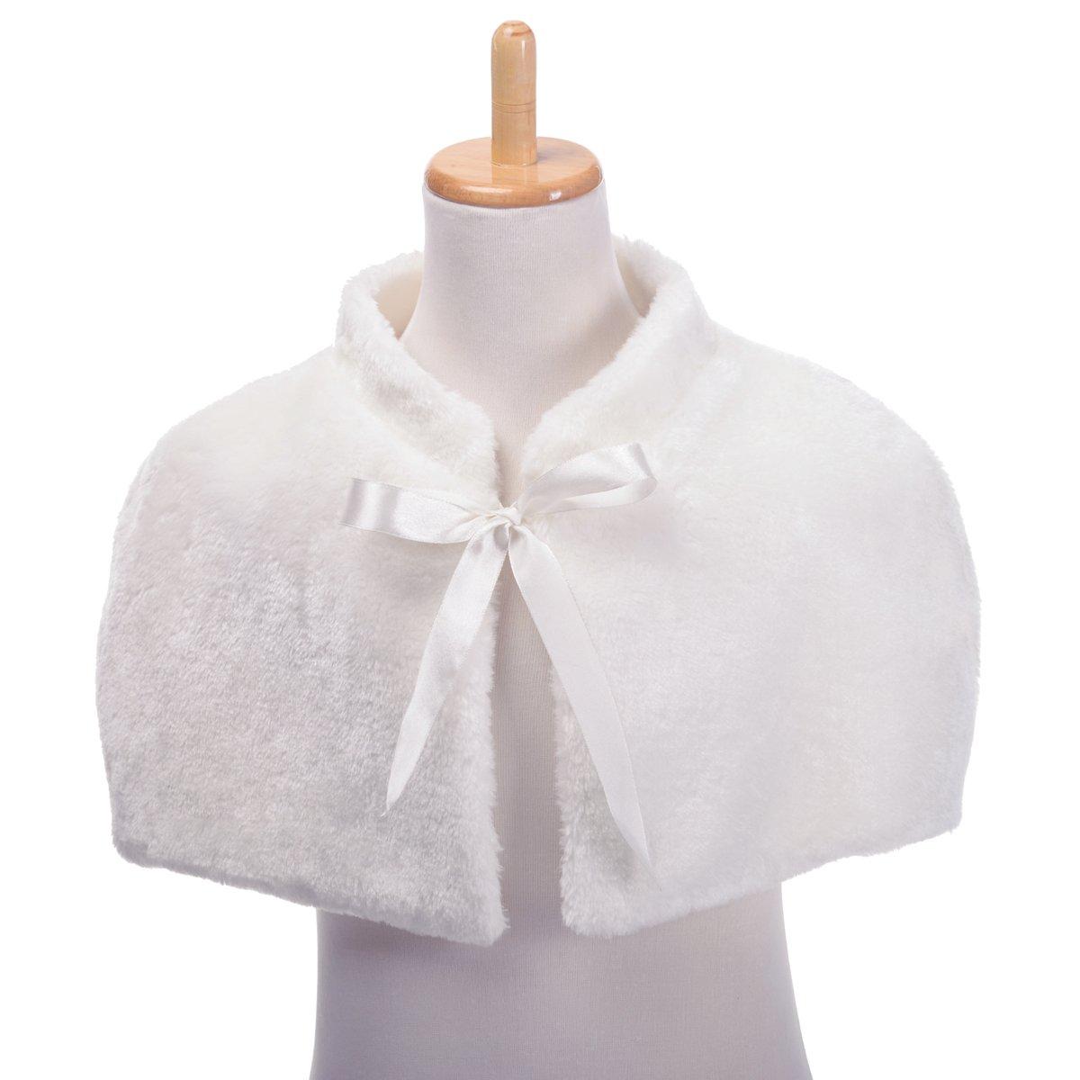 Remedios Ivory Flower Girl Wedding Party Wrap Bolero Jacket Cape w Ribbon, S