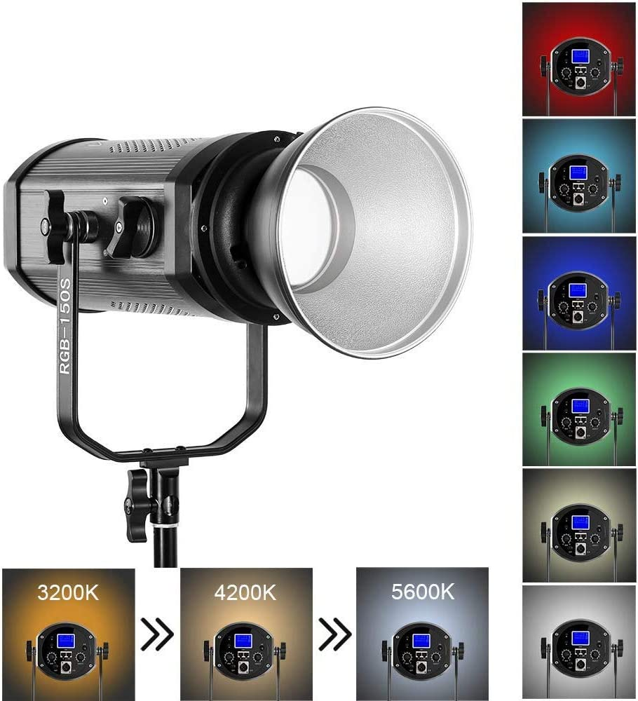 GVM 150W LED Video Light RGB Continuous Output Lighting Full Color and Two Color Temperature dimming,Color Range 3200K ~ 5600K for uTube Video Capture, Real-time Broadcast, Studio, Outdoor Photography