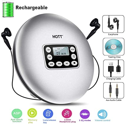 Rechargeable Portable Personal CD Player with LED Backlit Display Anti-Skip AUX