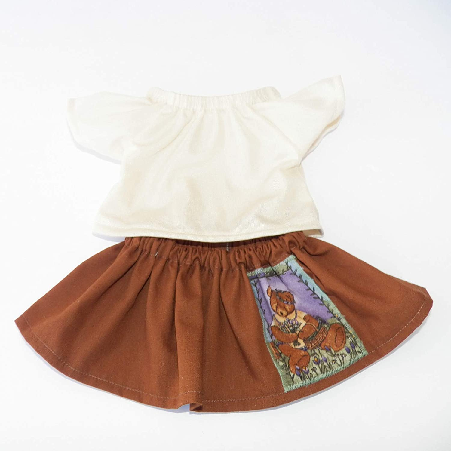 Cabbage Patch Doll Clothes Fits 16 Inch Girl Includes One Brown Appliqued Bear Skirt and One T Shirt No Doll