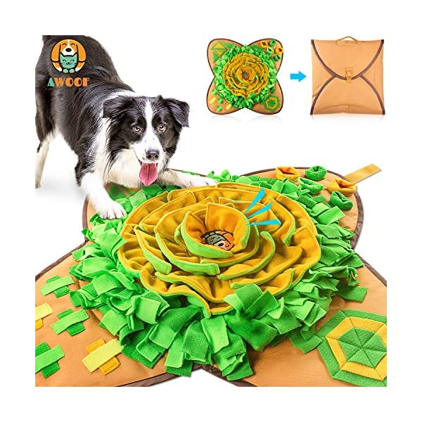 Aijiaye Dog Puzzle Toys, Pet Snuffle Feeding Mat, Interactive Game for Boredom, Encourages Natural Foraging Skills for Cats Dogs Portable Travel Use, Dog Treat Dispenser Indoor Outdoor Stress Relief 1