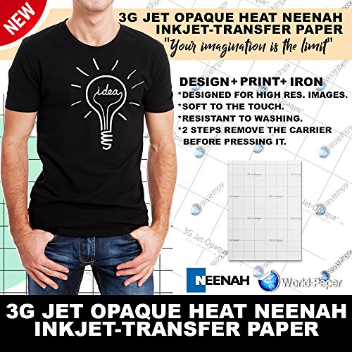Neenah 3G Jet Opaque Hat Transfer Paper for DARK - 8.5