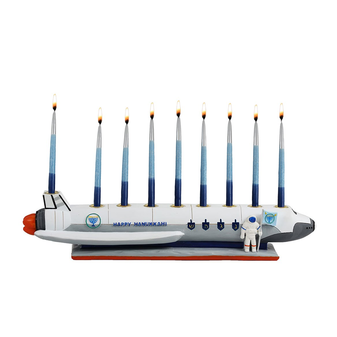 Zion Judaica Polyresin Spaceship Menorah Chanukah in Outer Space Zion Judaica Ltd MR-SPACE2