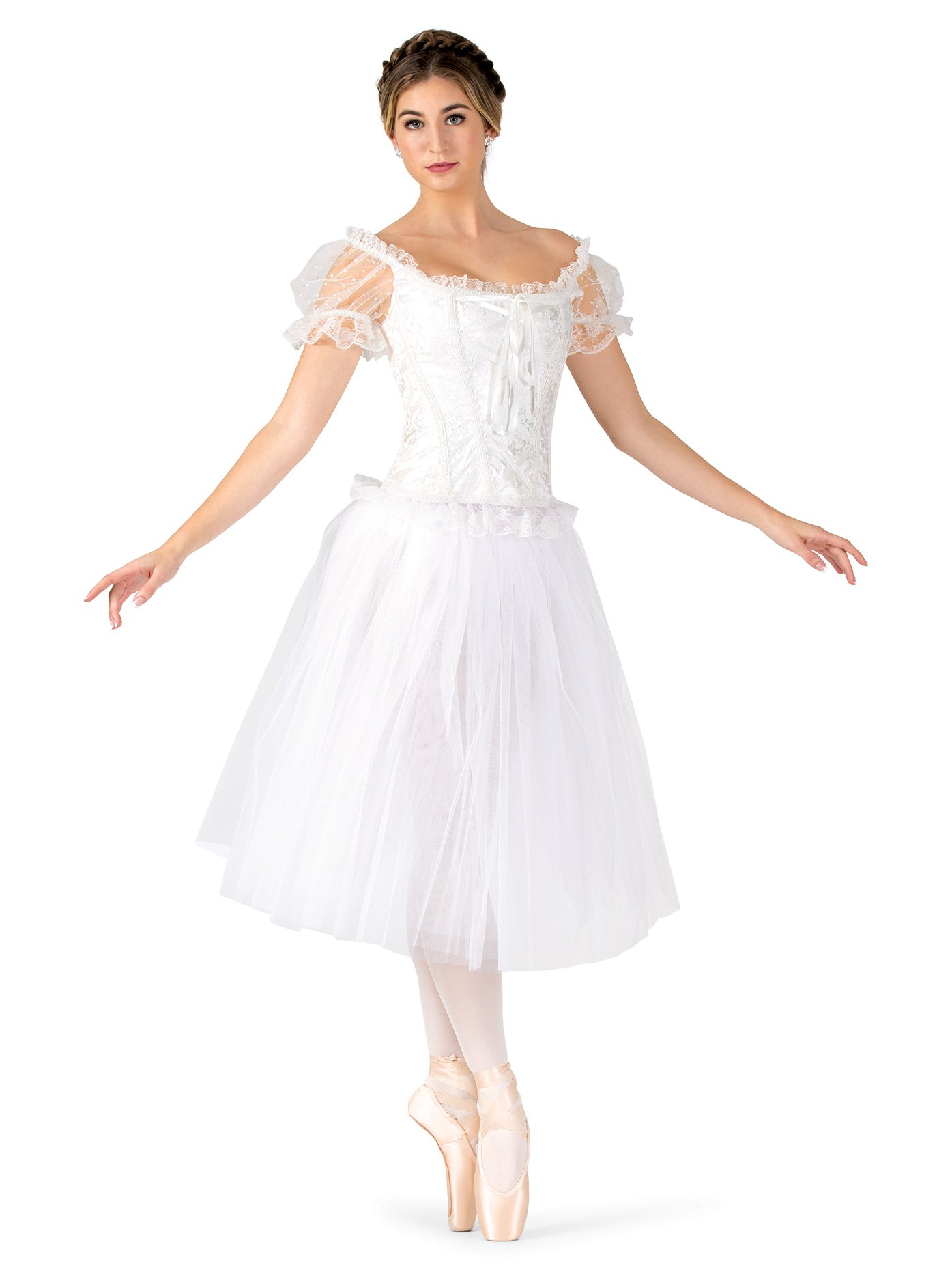 1a4f5393c Natalie Dancewear Womens Romantic Length Ballet Tutu Skirt N9013WHTM White  Medium