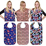 RMS 3 Pack Adult Bib Washable Reusable Waterproof Clothing Protector with Optional Crumb Catcher and Vinyl Backing 34'X18' (Butterfly/Blue Rose/Heritage)