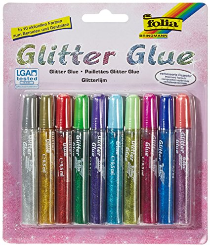 Max Bringmann 574 - Glitter Glue, 10 x 9,5 ml, in 10 Farben