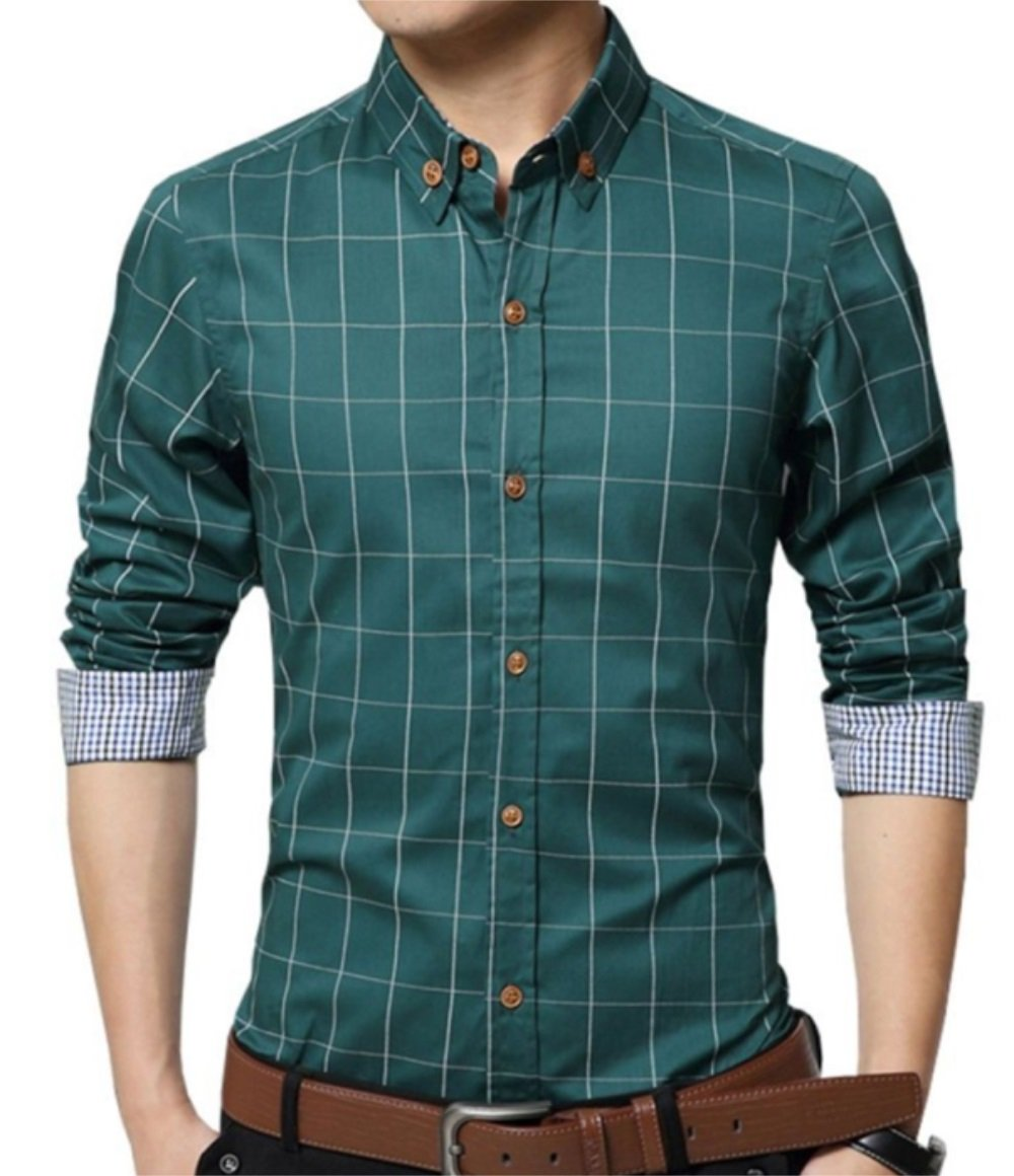 YTD Men's 100% Cotton Long Sleeve Plaid Slim Fit Button Down Dress Shirt US XL Green