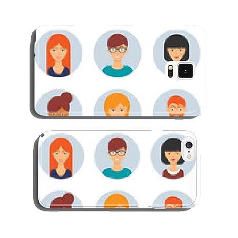 Amazon.com: Set of avatars. Vector illustration, flat icons ...