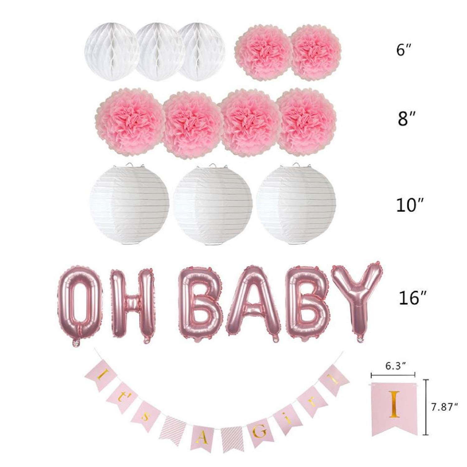 Amazon.com: Baby Shower Decoraciones para niña, it s a Girl ...