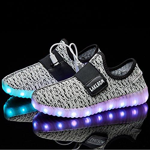 Boys LakeRom Shoes Charging USB LED Light Girls amp; Gray Flashing Lovely Luminous Sneakers qZnxaZd