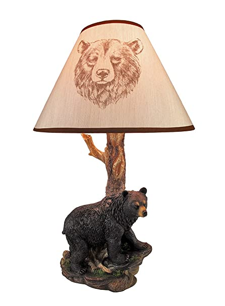 Delicieux Resin Table Lamps Black Bear And Tree Table Lamp With Shade 20 In. 12.5 X