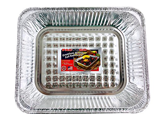 Aluminum Foil Pans - Half-Size Deep Disposable Steam Table Pans for Baking, Roasting, Broiling, Cooking, 12.75 x 10.25 x 2.56 - Heavy Duty Made in USA (Pack of 30) by PACTOGO (Image #3)