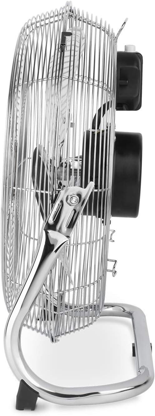 design in metallo cromato Ventilatore da pavimento silenzioso H.Koenig JOE30 3 velocit/à potente 100 W 40 cm resistente
