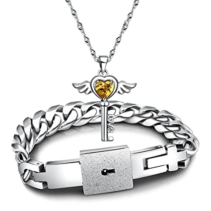 66d97c7ae Image Unavailable. Image not available for. Color: Couples Bracelets Lover  Concentric Lock Key Pendant Titanium Steel ...