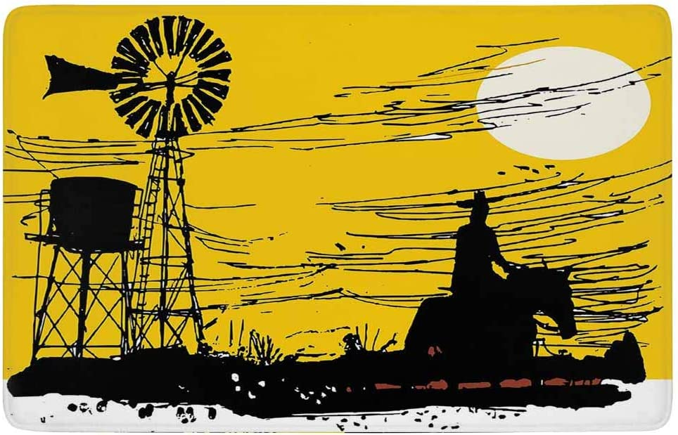 SoSung Windmill Decor Area Rug,Australian Outback Inspired Artwork Cowboy on Horse at Sunset,for Living Room Bedroom Dining Room,5'x 3',Earth Yellow Black White