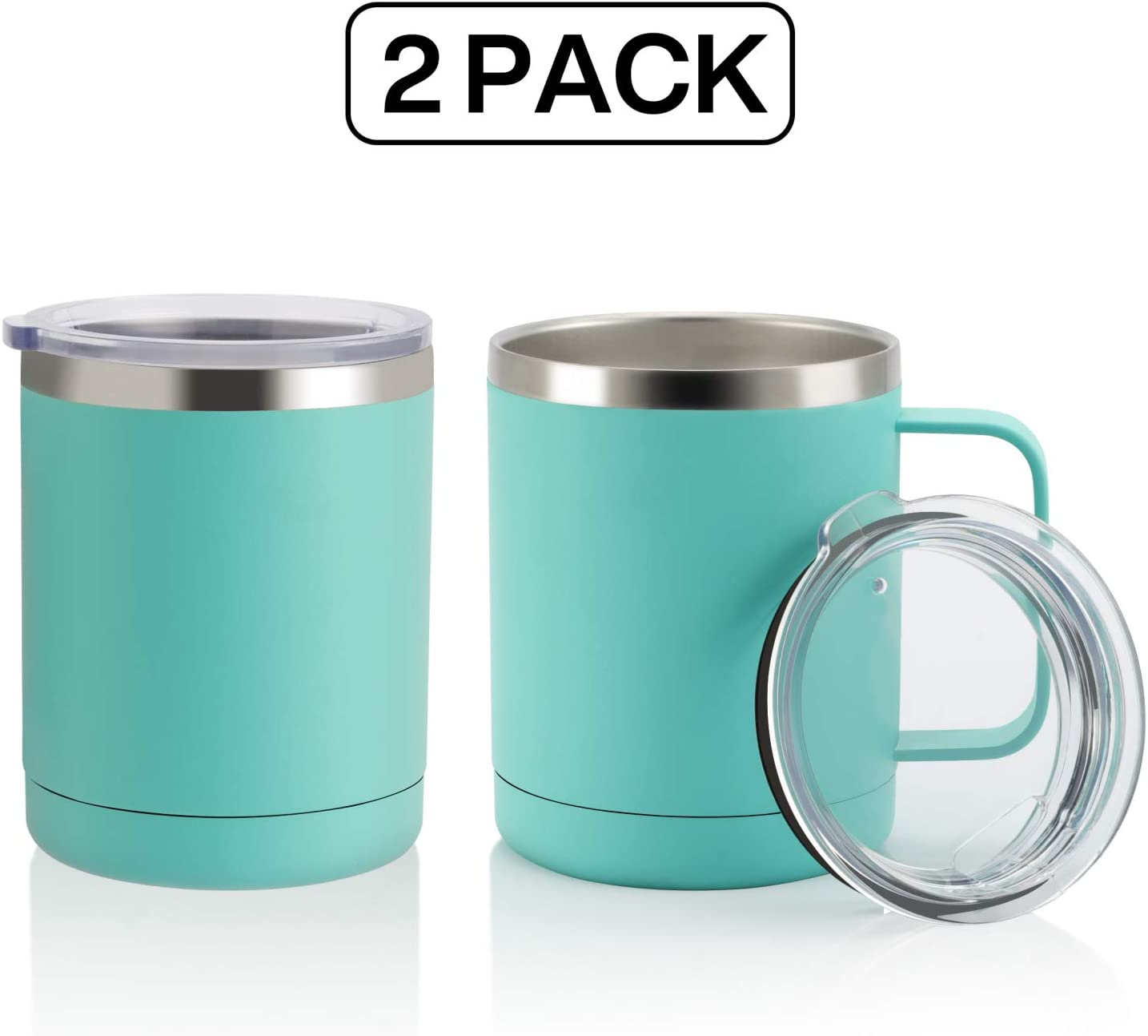 COMOOO 12oz Tumbler Stainless Steel Coffee Mug with Handle - Double Wall Vacuum Cup with Lid for Hot & Cold Drinks (Mint Green, 2)