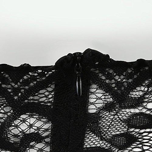 abito pizzo nero spiaggia party maniche cocktail donna donna Liquid da spalla Sonnena da lunghe mini in Abiti notte donna da RzqgAwa