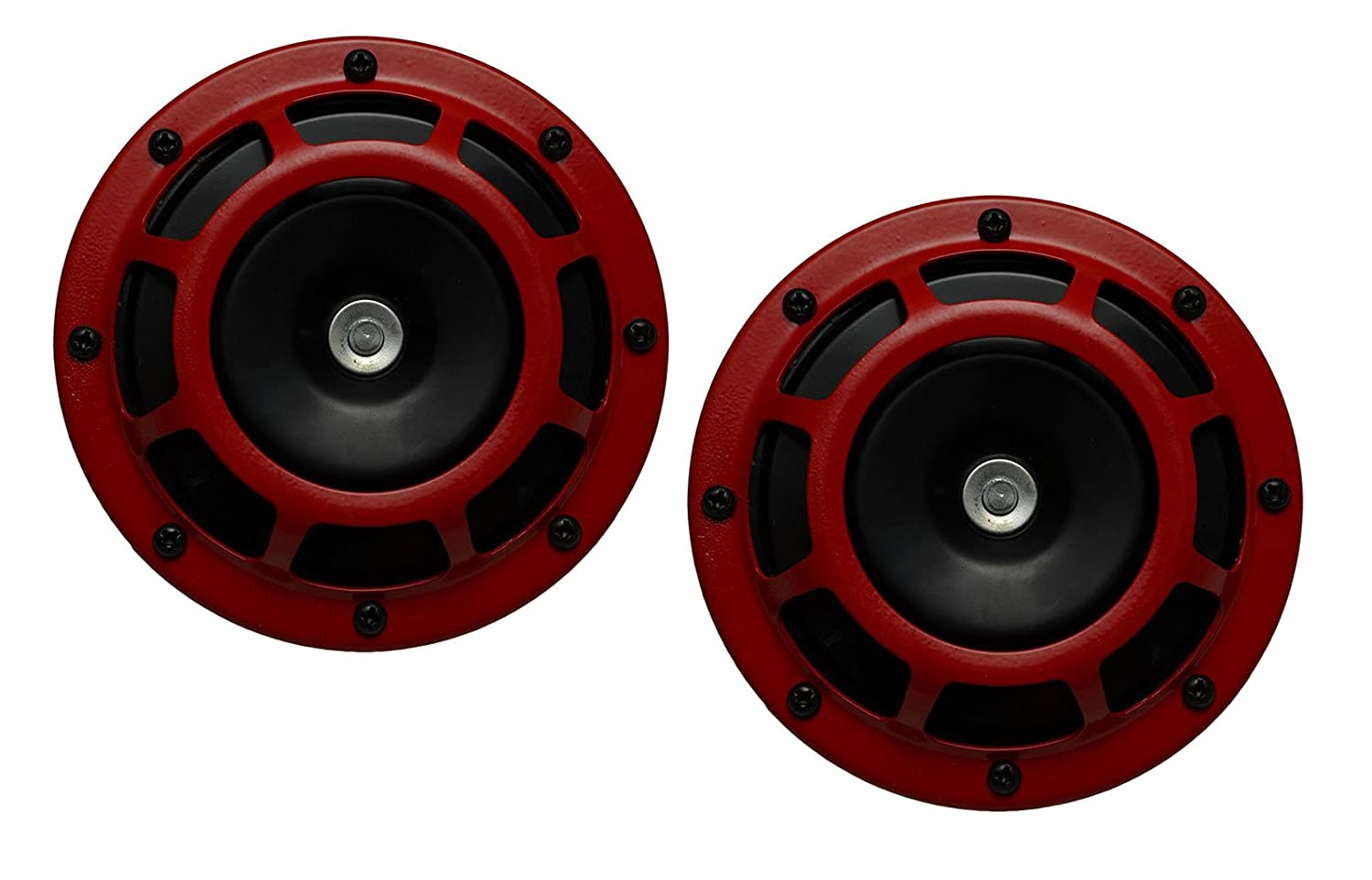 DUAL Super Tone LOUD Blast 139Db Universal Euro RED ROUND HORNS (Quantity 2) High Tone / Low Tone Twin Horn Kit with Bracket Pair Compact - Extremely LOUD for Car Bike Motorcycle Truck for Nissan Infiniti Datsun Altima Maxima Sentra SE-R Spec-V Primera 200