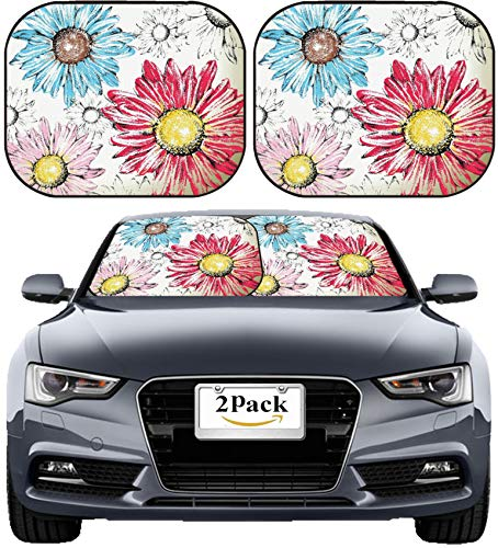 - MSD Car Sun Shade Windshield Sunshade Universal Fit 2 Pack, Block Sun Glare, UV and Heat, Protect Car Interior, Image ID: 20654605 Hand Drawn Flowers Background