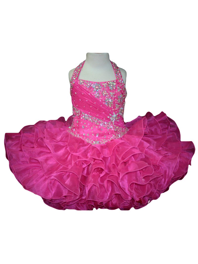 Dobelove Girls Crystal Beading Halter Lace-up Ball Gown Pageant Dress Size 14 Fuchsia