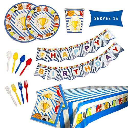 Sports Birthday Party Supplies - Sports Theme Party Supplies Set - Happy Birthday Plates and Napkins, Happy Birthday Banner, Cups, Utensils, and Table Cover - 114 Piece Set Serves 16 Guests