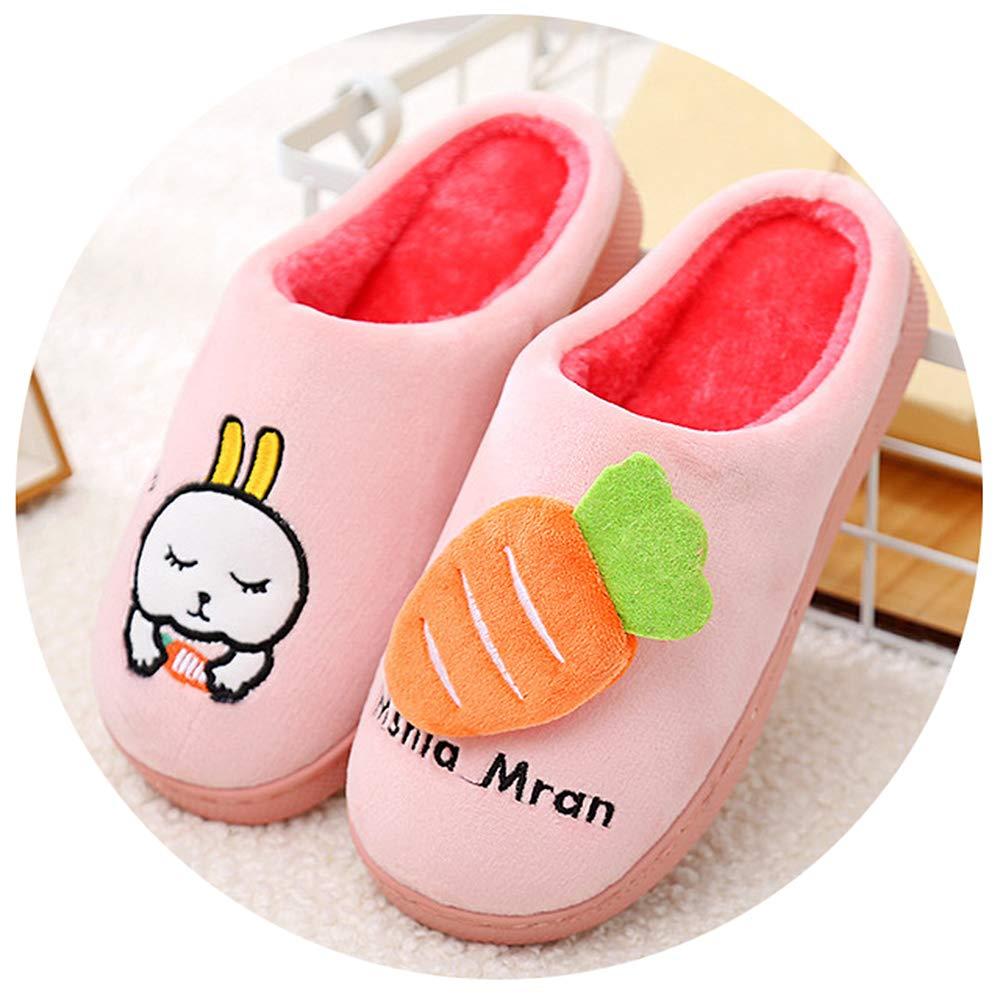 QZBAOSHU Chaussures Enfants Garçon Fille Chaussons Hiver Peluche Pantoufles Lapin Dessin Animé Mignon