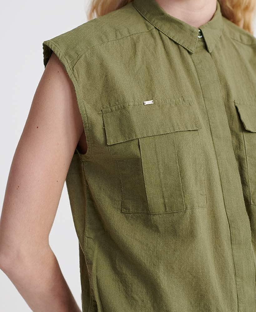 Superdry Mujer Camisa Militar sin Mangas: Amazon.es: Ropa y ...