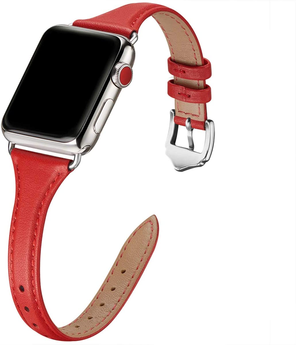 WFEAGL Leather Bands Compatible with Apple Watch 38mm 40mm 42mm 44mm, Top Grain Leather Band Slim & Thin Replacement Wristband for iWatch SE & Series 6/5/4/3/2/1(Red Band+Silver Adapter, 38mm 40mm)