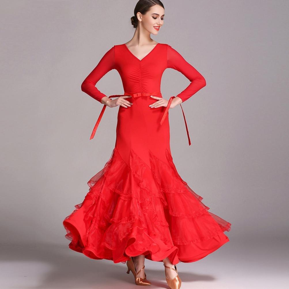 Big Swing Modernes Tanzkleid Für Frauen Walzer Mesh Lange Ärmel Standardtanz-Kleid Eis Seide B078BQDNP9 Cocktail Nutzen Sie Materialien voll aus