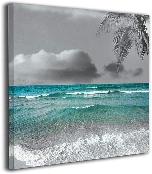 Beach Sea Pier Waves Landscapes SINGLE CANVAS WALL ART Picture Print