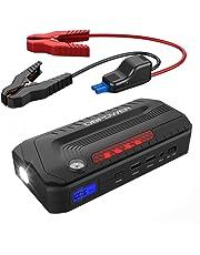 DBPOWER 800A Spitzenstrom 18000mAh Tragbare Auto Starthilfe Power Pack Jump Starter, Externer Akku Ladegerät Powerbank mit doppeltem USB Ladeanschluss, LED Taschenlampe und LCD Display