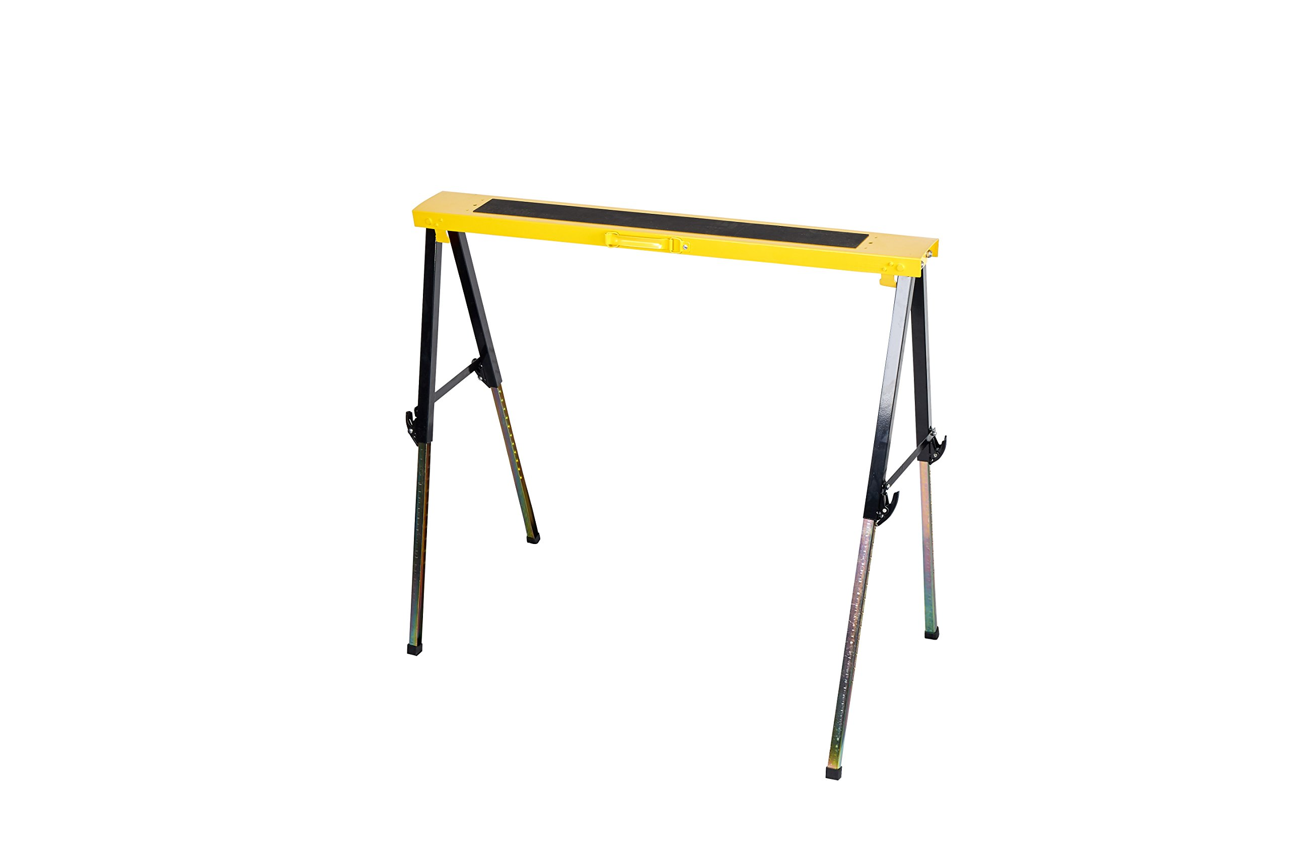 Single Pack Steel Multi Purpose Folding Legs and 12 Position Height Adjustable Sawhorse Brackets Capacity 250LBS by CASTOOL (Image #1)