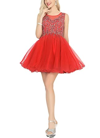 Miss Chics Tulle Homecoming Dress Short Prom Dress for Women Rhinestones Round Neck(0,