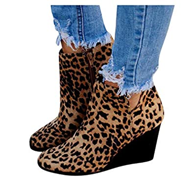 Women's Boots Vintage Wedge Leopard Ankle Short Boots Comfy Mid Chunky Heel Suede Bootie with Zipper: Clothing