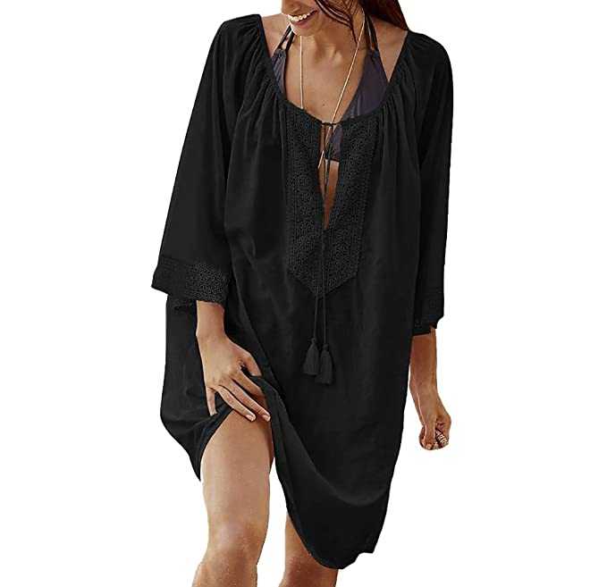 280b329bb5a64 Bestyou Women s Rayon Tops Plus Size Tunic Cover UPS For Swimwear Beach  Dresses (Black)