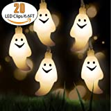 Ghost 20 LED String Novelty Lights - Fairy String Lights 3 Modes 6.6 Feet Battery Powered for Halloween, Holiday, Festival, Party Decor(Warm White)