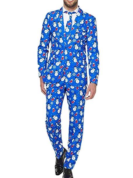 Amazon.com: Traje de Navidad para hombre, color azul, con ...