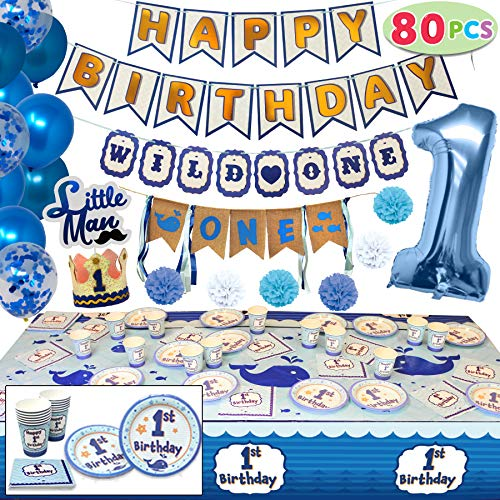 JOYIN 80 PCs Baby Boy 1st Happy Birthday Decorations Party Supplies All-in-One Wild Pack (High Chair Bday Banner, Confetti Balloons, Hats, Cake Topper, Plates, Cups, Tableware) Ideal for Kids One Year