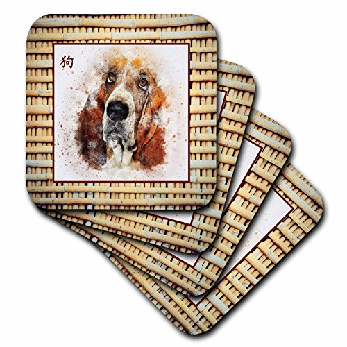 3dRose Beverly Turner Chinese New Year Design - Basset Hound on Realistic Bamboo Look,Sign of the Dog in Chinese - set of 8 Ceramic Tile Coasters - Coaster Ceramic Dog Tile