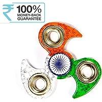 Meya Happy Indian Flag Tri Colour Print Fidget Metal Hand Spinner, Multi Color