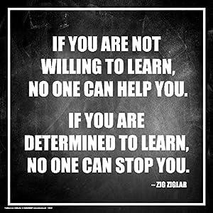 Culturenik Hilary Hinton Ziglar Determined to Learn Inspirational Motivational Speaker Author Celebrity Quote Classroom Print (Unframed 12×12 Poster)