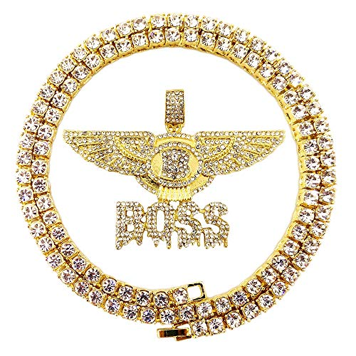 HH Bling Empire Hip Hop Iced Out Gold Faux Diamond Bubble Dripping Full Name Letters Tennis Chain 20 Inch (Wing-Boss) ()