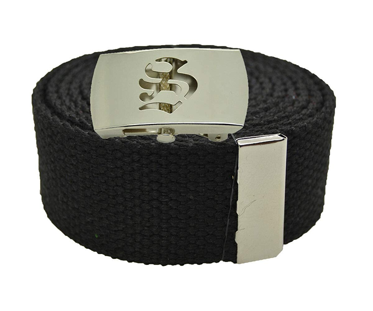 Stylish Canvas Military Web Belt /& BIGS Silver Buckle 72 Inches BLACK #AAAS