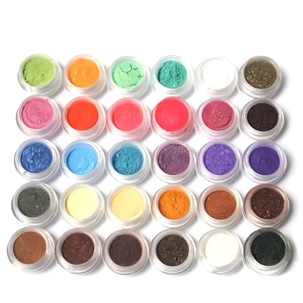 Elisona?30 Pcs Colors Tiny Warmer Glitter Shimmer Shining Pearl Highlighting Eyeshadow Pigments Set Random Color