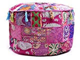 Aakriti Gallery Indian Pouf Footstool Ethnic Embroidered Pouf Cover, Indian Cotton Round Pouffe Ottoman Pouf Cover Pillow Ethnic Decor Art - Cover Only (22x14inch) (Pink)