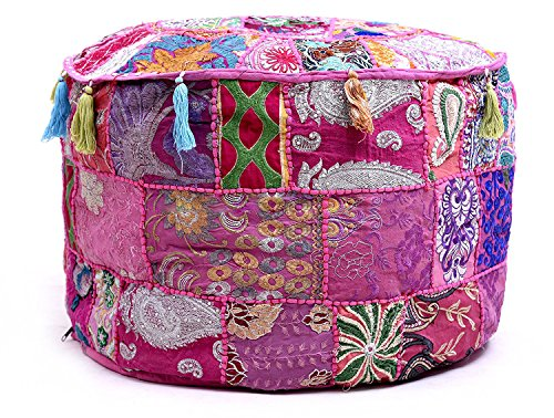 Aakriti Gallery Indian Pouf Footstool Ethnic Embroidered Pouf Cover, Indian Cotton Round Pouffe Ottoman Pouf Cover Pillow Ethnic Decor Art - Cover Only (22x14inch) (Pink) by Aakriti Gallery