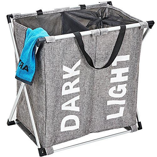 HOMEST Laundry Basket 2 Sections, Large Dirty Clothes Hamper Sorter for Bathroom, Foldable Hamper Divided, Grey